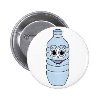 Water Bottle Cartoon Pinback Button