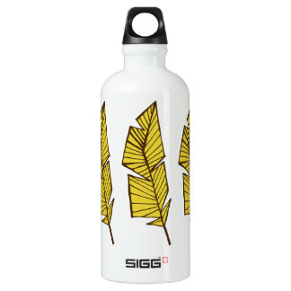 Water bottle geometric feathers