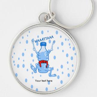 Water Bottle Karake Attack Waattaa Joke Silver-Colored Round Key Ring