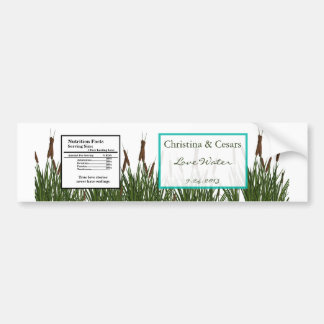 Water Bottle Label Cattail/Dragonfly in Color Gree Bumper Sticker