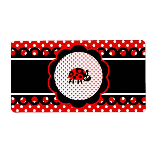 Water Bottle Label -  Cute Ladybugs