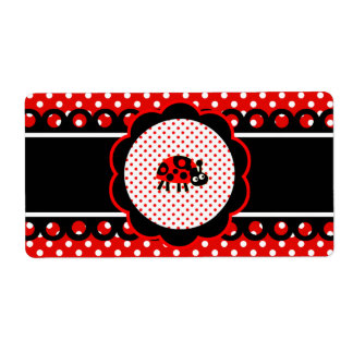Water Bottle Label -  Cute Ladybugs Shipping Label