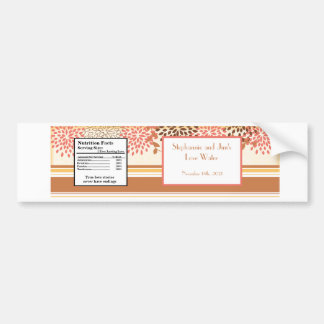 Water Bottle Label Pink and Brown Floral Bumper Sticker