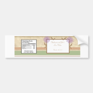 Water Bottle Label Purple and Green Floral Bumper Sticker
