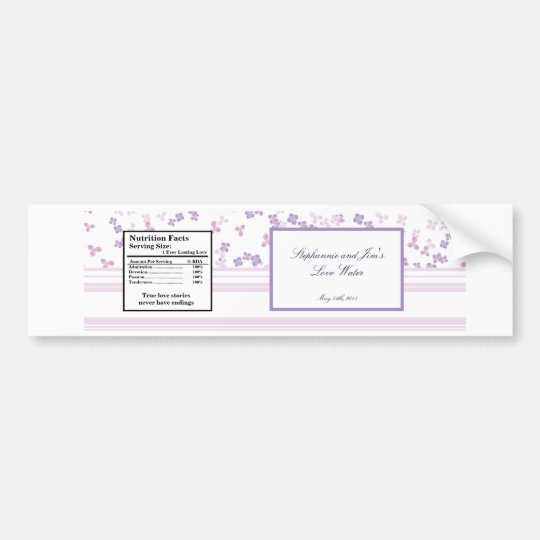Water Bottle Label Purple Hydrangea Bumper Sticker