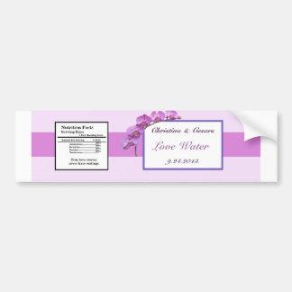 Water Bottle Label Purple Orchids on Stem Bumper Sticker