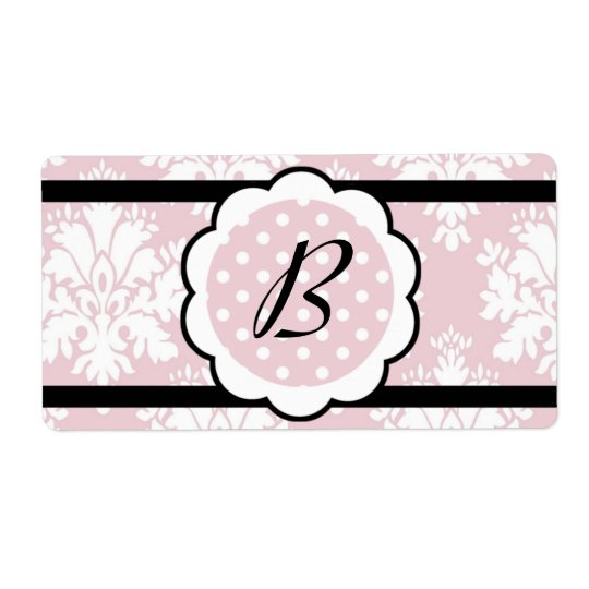 Water Bottle Label -  Rose Damask Shipping Label