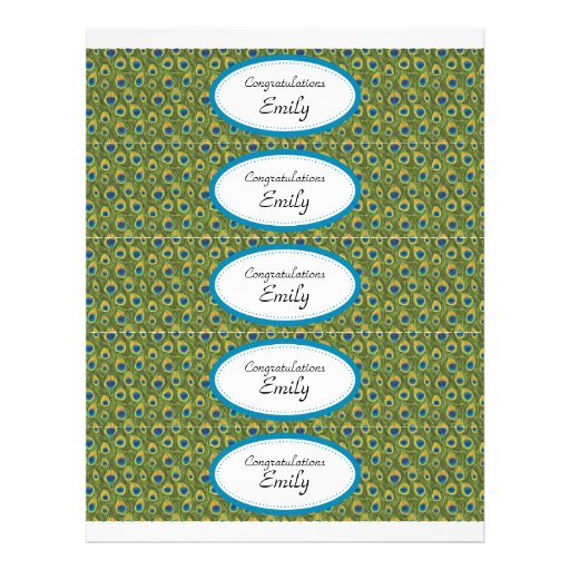 Water Bottle Labels | Turquoise and Peacock Print Full Color Flyer
