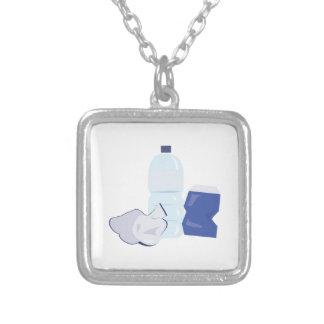 Water Bottle Square Pendant Necklace