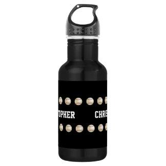 Water Bottle, Personalized, Baseball, Black 532 Ml Water Bottle