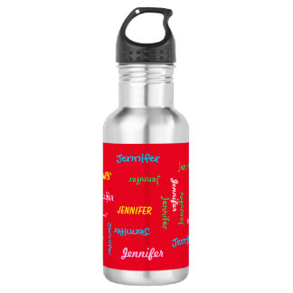 Water Bottle, Personalized, Repeating Name on Red 532 Ml Water Bottle