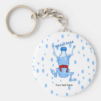 Water Bottle Wearing Red Karate Belt Basic Round Button Key Ring