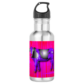 Water bottle with of a graphic design purple cow