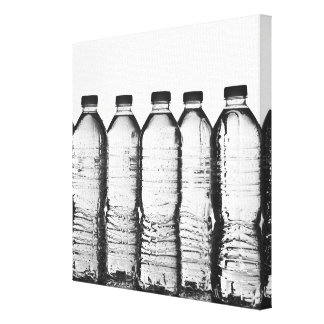 Water bottles in studio canvas print