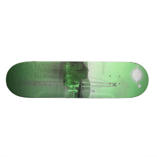 Water, bridge and two suns custom skateboard