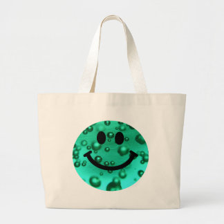 Water bubbles smiley large tote bag