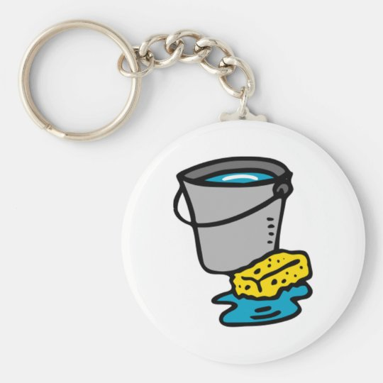 Water Bucket and Sponge Basic Round Button Key Ring