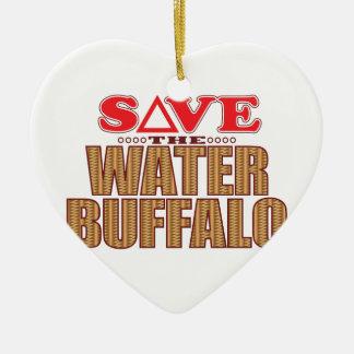 Water Buffalo Save Ceramic Heart Decoration