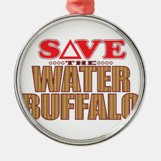 Water Buffalo Save Silver-Colored Round Decoration