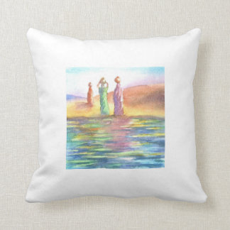 Water carriers throw pillows