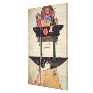 Water clock with automated figures canvas print