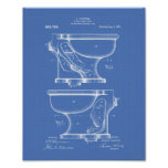 Water Closet Bowl 1909 Patent Art Blueprint Poster