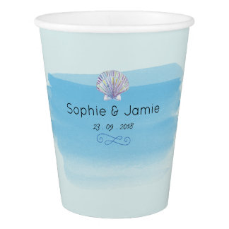 Water Color Beach theme Wedding Paper Cup