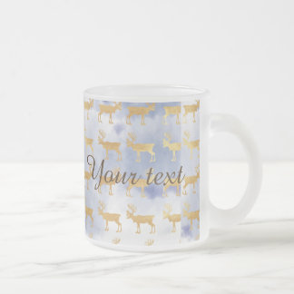 water color blue skies,gold,deers,pattern,trendy,w frosted glass mug