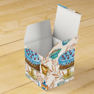 Water color cups and cake design party favour box