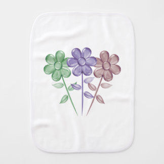Water Color Flowers - Baby Burp Cloth