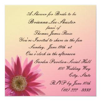 Water Color Fuscia Daisy 13 Cm X 13 Cm Square Invitation Card