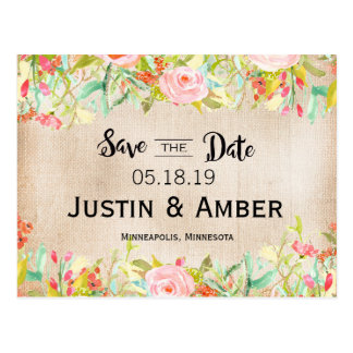 Water color garden save the date postcard