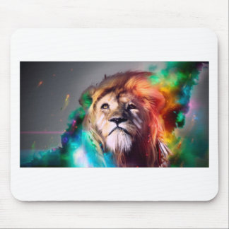 Water color lion mouse pad