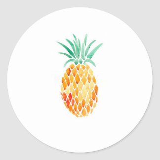 Water- Color Pineapple Classic Round Sticker