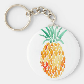 Water- Color Pineapple Basic Round Button Key Ring