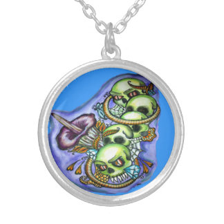 water color skull necklace