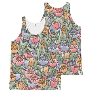 Water Color Tulips in Spring All-Over Print Tank Top