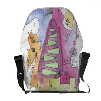 Water color Unique abstract messenger bag