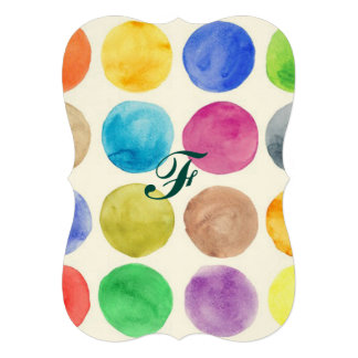 Water colour,big polka dot, funny,cute,girly,trend 13 cm x 18 cm invitation card