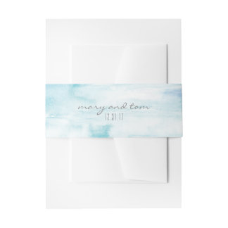 Water Colour Destination Belly Band Invitation Belly Band