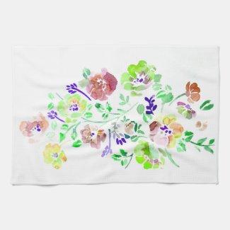 Water Colour Flowers Towel Green Tea Towel