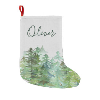 WATER COLOUR FOREST CHRISTMAS SMALL CHRISTMAS STOCKING