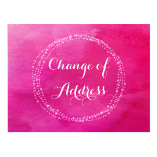 Water colour Pink Change of Address Postcards