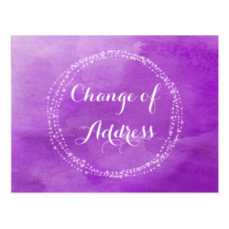 Water colour Purple Change of Address Postcards