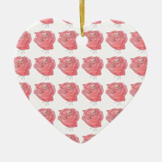 water colour rose ceramic heart decoration