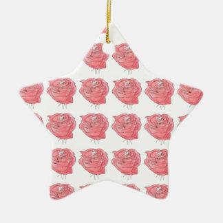 water colour rose ceramic star decoration