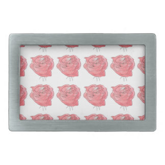 water colour rose rectangular belt buckle