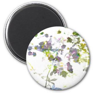 Water colour style romantic flower floral design 6 cm round magnet