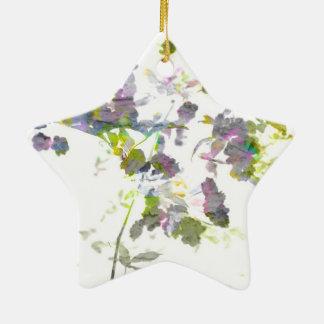 Water colour style romantic flower floral design ceramic star decoration