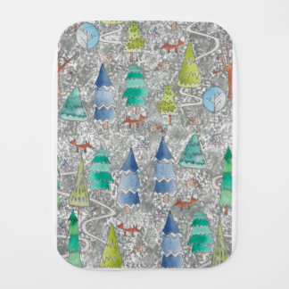 Water colour winter forest burp cloth